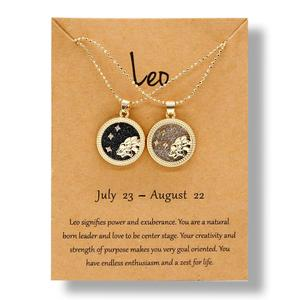 Couple Lovers Birthday Gift Vintage 12 Constellation Zodiac Pendant Necklace Round Coin White Black Resin Simple Trendy Necklace