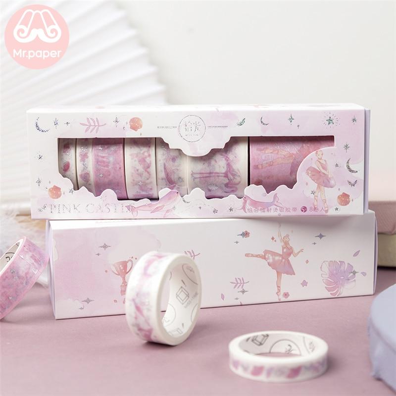 Mr Paper 8pcs/lot Window Box Sakura Sliver Stamping Little Prince Washi Tapes Set Bullet Journal Scrapbooking Masking Tapes
