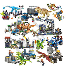 2019 NEW Jurassic Parked Blue's Helicopter Pursuit Bricks Set Compatible with MOC Jurassic Worlds Model Building Blocks DIY Toys model building kit blocks bricks miniecraft 18032 2932pcs the mountain cave my worlds compatible with lego 21137 toys hobbies