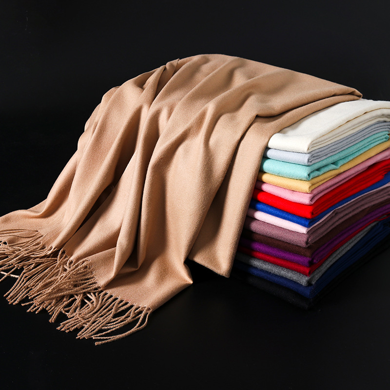 Fashion Solid Color 2020 Women Scarf Winter Hijabs Tessale Tassels Long Lady Shawls Imitation Cashmere Pashmina Hijabs Scarves