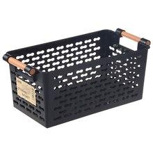 Plastic Desktop Storage Basket Rectangular Bathroom Portable Box Bath Kitchen Debris Multi-Purpose Baskets Black