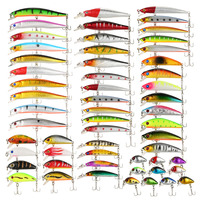 56PCS Fishing Lures Set Mixed Minnow Lures Crank Lures Fishing Tackle Kit Focus Shift Ball Inside Great for Freshwater Saltwater Fishing Lures    -
