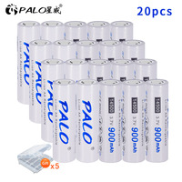 PALO 14500 battery 900mAh 3.7V Li ion Rechargeable Batteries AA Battery Lithium Cell for Led Flashlight Headlamps Toys Top Head