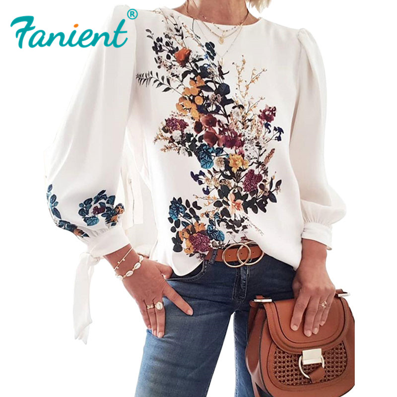Women Flora Printed Long Sleeve Loose Style Pullover Blouse Chic Casual Spring Fall Fashion New Top Vintage Women's Blouse Shirt