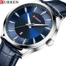 CURREN Blue Business Design Men Genuine Leather Belt Mens Quartz Wristwatch Top Brand Luxury Calendar Display Relogio Male Clock