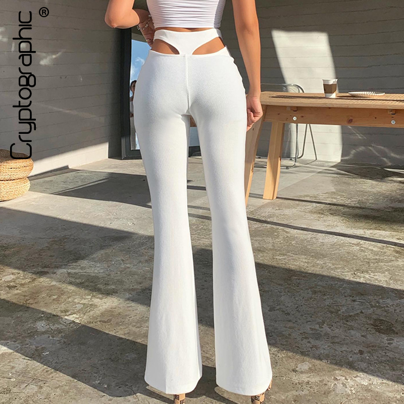 Cryptographic White Knitting Sexy Cut-Out High Waist Flare Pants Trousers Fall Winter 2020 Harajuku Bell Bottom Pants Loose