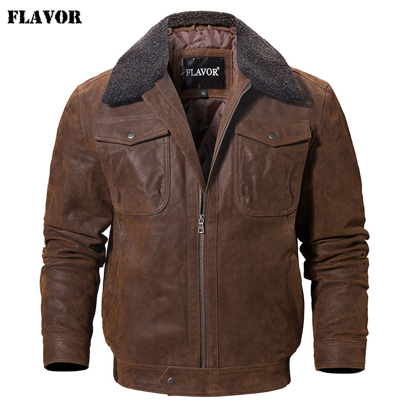 FLAVOR Men's Real Leather Jacket Genuine Leather Jacket With Faux Fur Collar Male Motorcycle Warm Coat Genuine Leather Jacket