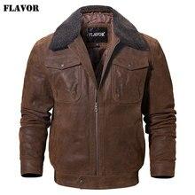 Lezzet erkek gerçek deri ceket hakiki deri ceket faux kürk yakalı erkek motosiklet sıcak tutan kaban hakiki deri ceket