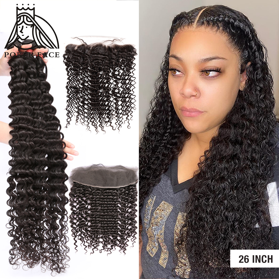 28 30 40 Inch Deep Wave Brazilian Hair Weave 3 4 Bundles With 13X4 Lace Frontal Water Curly Double Drawn Bundle And Closure Remy