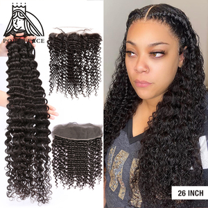 28 30 40 Inch Deep Wave Brazilian Hair Weave 3 4 Bundles With 13X4 Lace Frontal Water Curly Double Drawn Bundle And Closure Remy(China)