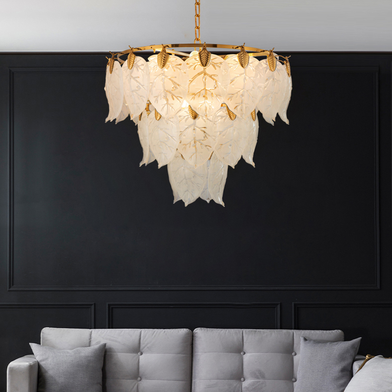 Postmodern Light Luxury Leaf Chandelier Simple Atmosphere Living Room Lighting Creative Nordic Restaurant Bedroom Chandelier