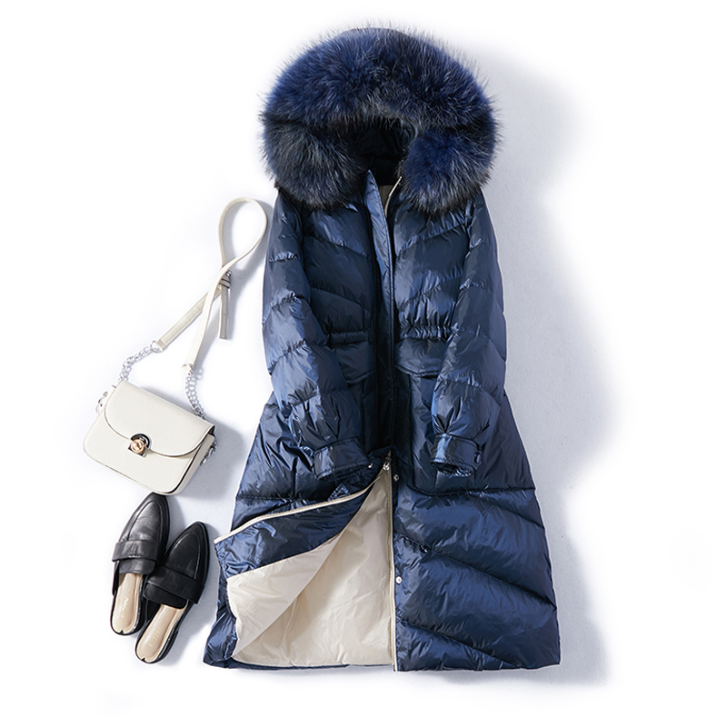 Real Natural Fur Collar 2019 New Winter Women Warm Long Down Coat Winter Hooded White Duck Down Parka Female Down Jacket Outwear