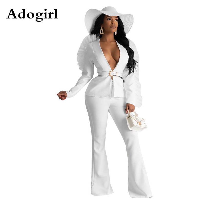 Autumn Mesh Patchwork Two Piece Set V Neck Blazer Top + Wide Leg Pants Women Sets Office Lady Outfit Uniform Bussiness Outfits