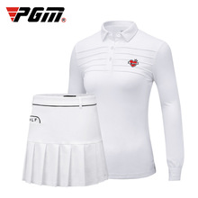 Pgm Golf Women Clothing Set Ladies Golf/Tennis Suit Long Sleeved Collar Shirts Pleated Safe Skirts Autumn Spring Golf Skirts Set