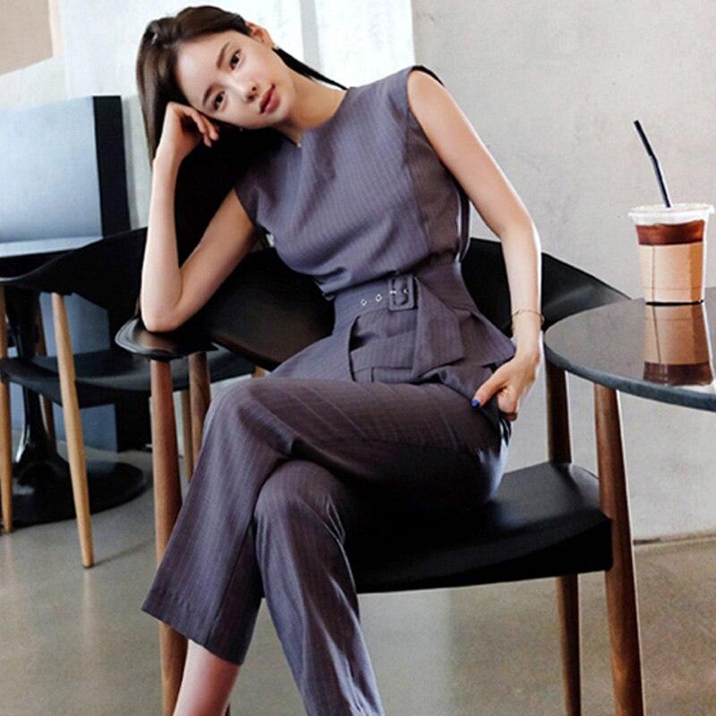 European Woman Office Set 2020 Summer Elegent 2 Piece Pant Suit Ruffles O Neck Sleeveless Tops Office Business Women Outfits