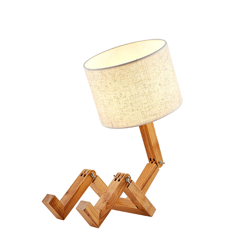 New Wood Robot Shape Folding Table Lamp Creative European Fashion Bedroom Study Bedroom Bedside Linen Lamp Shade Table Lamp