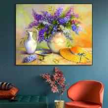 Художественный плакат на холсте картина маслом с цветами настенный