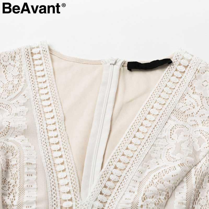 BeAvant сексуальное Белое Макси-платье с v-образным вырезом, женское элегантное вечернее платье, шикарное ТРАПЕЦИЕВИДНОЕ осеннее кружевное платье с коротким рукавом