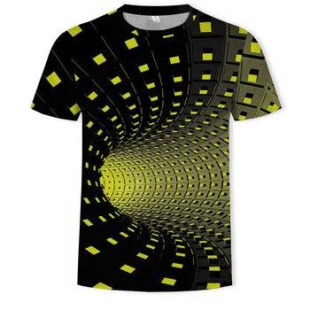 Geometric Graphics T shirt Men's 3D t-shirt Colorful Plaid t shirt Printing Funny Illusion Black O-neck Pullover Womens T-shir