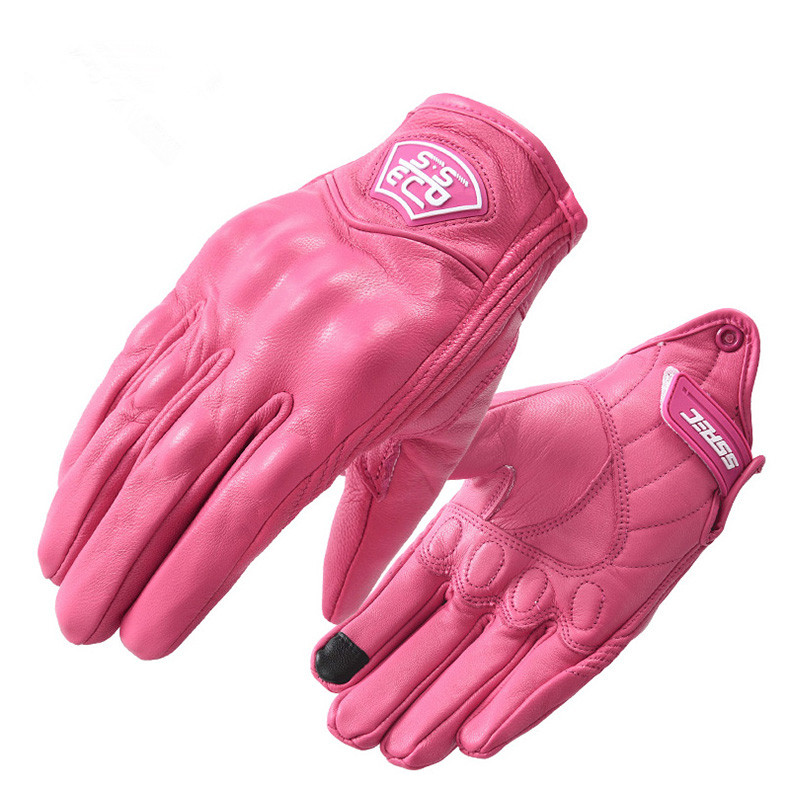 New Pink Ladies Leather Gloves Motorcycle Gloves Guantes Moto Motocross Gloves Winter Windproof Moto Gloves
