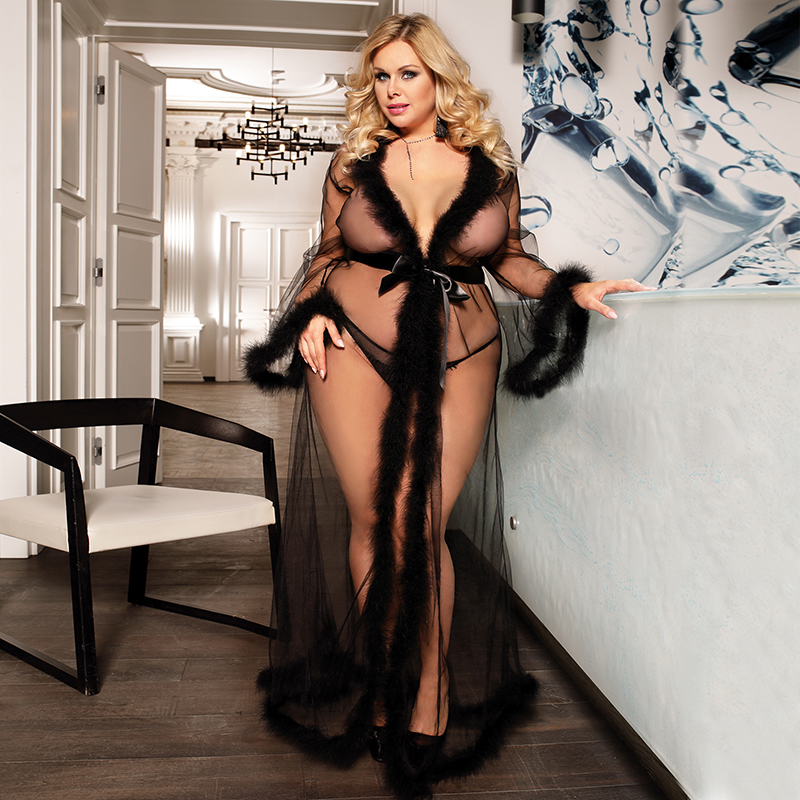 Sexy Nightgown Erotic Transparent Hot Sexy Women Porno Lingerie Long Sleeve Sheer Sleep Robe Plus Size Lenseria Sexy Mujer 80759