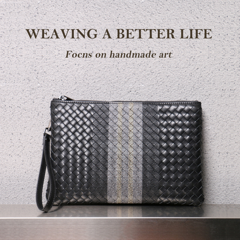 Men Clutch Bag 100% Leather Cowhide Large Capacity Soft Woven Handbags Luxury Brand Design Business Bag 2020 New Fashion Spot