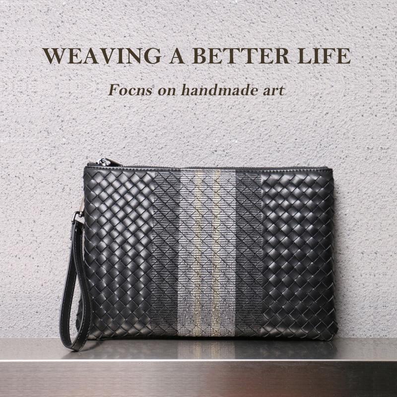Мужская сумка-клатч из 100% воловьей кожи, большая вместительность, мягкие тканые сумки, роскошный фирменный дизайн, деловая сумка, новинка 2021...