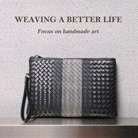 Männer Kupplung Tasche 100% Leder Rindsleder Große Kapazität Weichen Woven Handtaschen Luxus Marke Design Business Tasche 2021 Neue Mode Spot