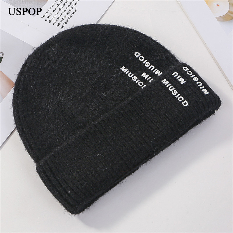 USPOP 2019 new fashion skullies Women men thick letter beanies casual knitted hats