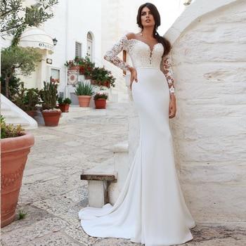 Gorgeous Sheer Neck Long Sleeves Wedding Dresses Custom Made Robe de Mariee Mermaid Bridal Gown black cutout details crew neck long sleeves sheer shirt