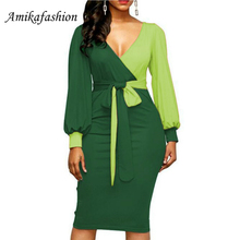 Women Fashion Sashes Sexy Office Lady Work Dress Long Sleeve Deep V Neck Contrast Color Shirt  Winter Xxl 2019
