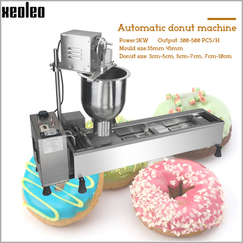 XEOLEO Electric Donut Fry machine Ball Shape MINI Donut Machine Cake Donut Fryer Full Automatic Counting system 3 set Moulds цена 2017