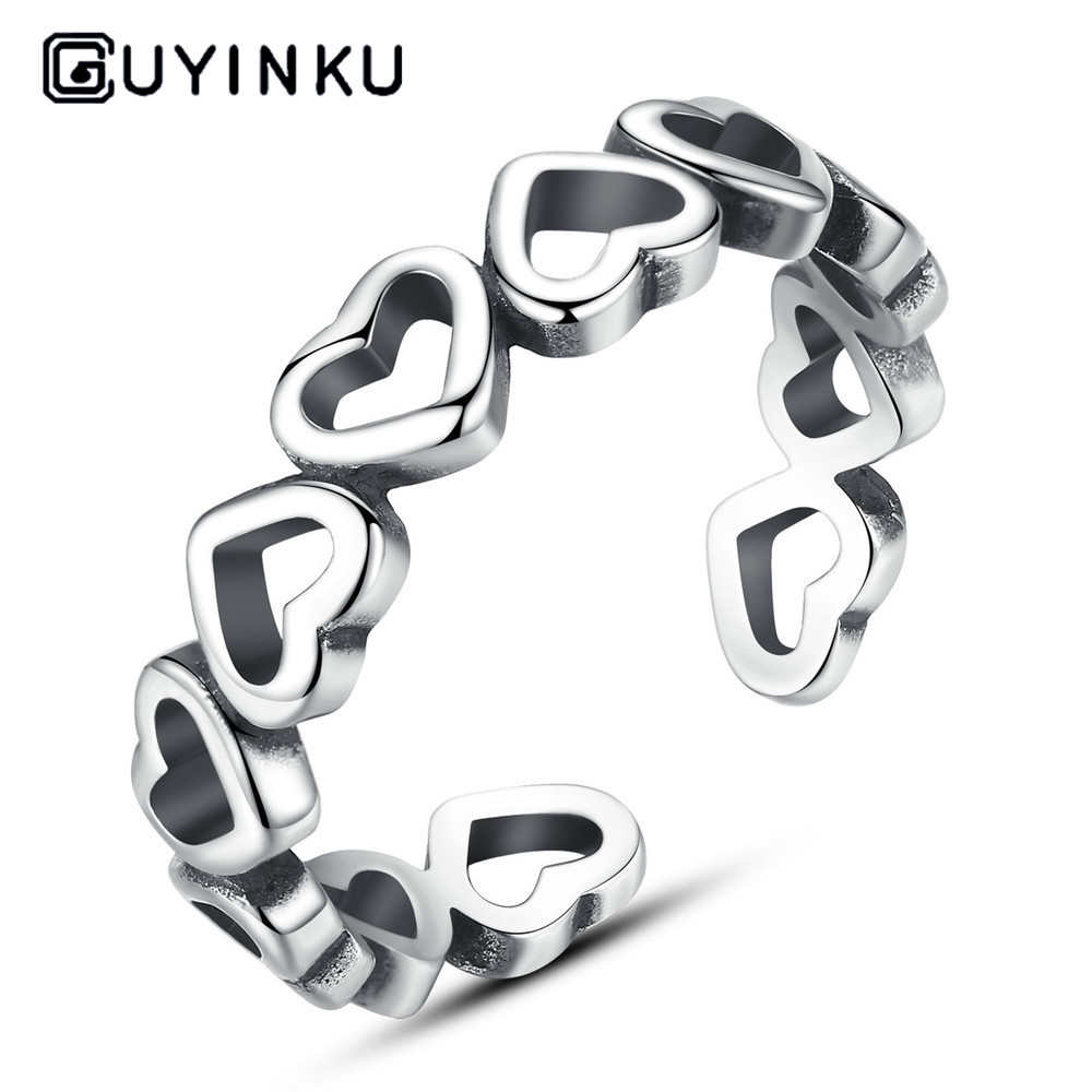 925 Sterling Silver Ring Retro Love Adjustable Opening  Decoration Thai Silver Men's And Women's Ring