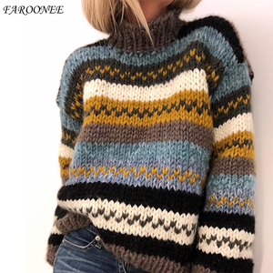 2021 New Women Sweater Half High Collar Pullover Ethnic Vintage Long Sleeve Loose Knitted Winter Female Stripe Sweater Big Size