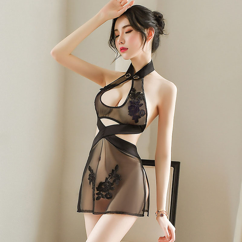 Jacquard Mesh See Through Sexy Chinese Split Mini Dresses Qipao Traditional Cheongsam Babydoll Lingerie Party Nightclub Uniforms