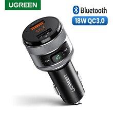 Автомобильное зарядное устройство Ugreen, USB, FM передатчик QC 3,0, быстрая зарядка в автомобиле, зарядное устройство QC3.0, зарядное устройство для Xiaomi, Samsung, iPhone, быстрая зарядка 3,0