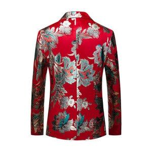 Image 2 - Shenrun Men Red Blazer Jacket Fashion Slim Fit High Quality Casual Blazers Groom Jackets Host Singer Stage Dress M 6XL Plus Size