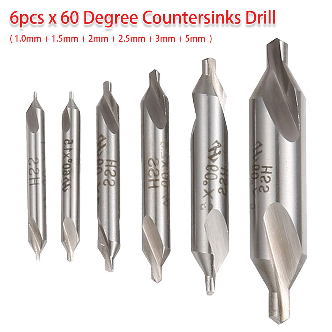 1.0mm 1.5mm 2mm 2.5mm 3mm 5mm 6pcs 60 Degree Combined Countersink Center Drills Bit HSS Angle Drill Bit For Bodhi Rosary/ Wood