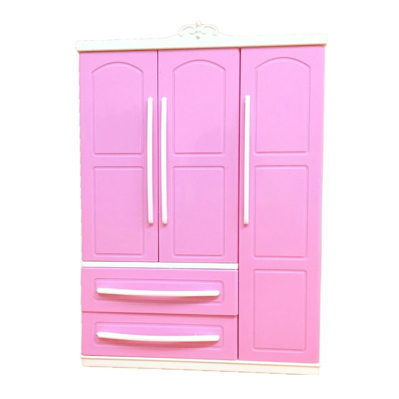 Three-door Pink Modern Wardrobe Play Set For Dolls Furniture Can Put Shoes Clothes Accessories With Dressing Mirror Girls Toys