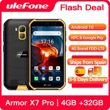 Osłona Ulefone X7 Pro wytrzymały smartfon 4GB RAM Android 10 telefon komórkowy IP68 czterordzeniowy NFC 4G telefon komórkowy wodoodporny tanie tanio Nie odpinany CN (pochodzenie) Rozpoznawania linii papilarnych Rozpoznawania twarzy Inne 13MP 4000 Nonsupport Smartfony 5G Wi-Fi