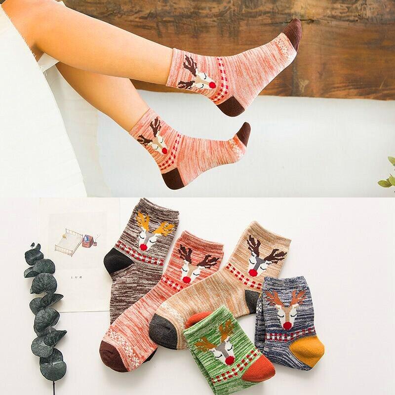 5 Pairs Autumn Winter Wool Cotton Socks Set Women Keep Warm Free Size Cute Cartoon Deer Socks Short Christmas Socks