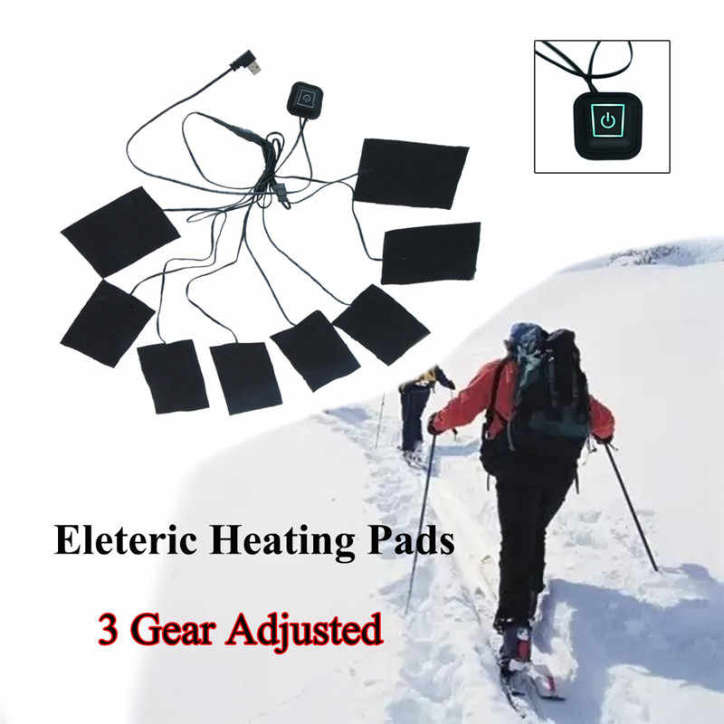 1 takım USB elektrikli ısıtmalı ceket isıtma pedi açık termal sıcak kış ısıtma yelek pedleri DIY ısıtmalı giyim 3/5 /8 levha ED