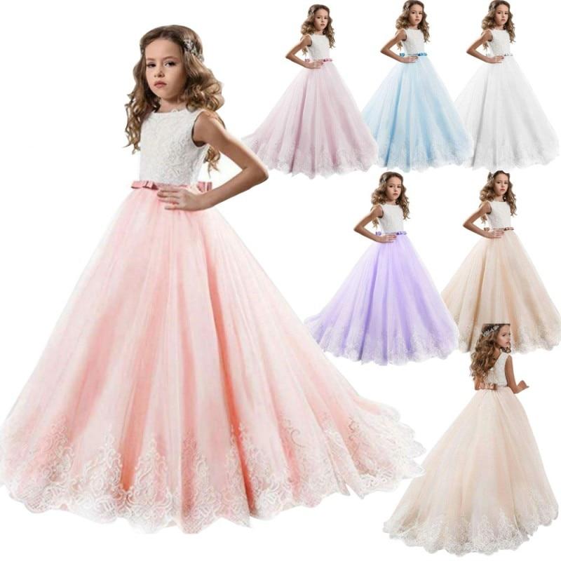 Robe longue en dentelle pour enfants | Robes de bal de soirée pour filles, tenue de demoiselle dhonneur, élégante, pour adolescentes, nouvelle collection 2020