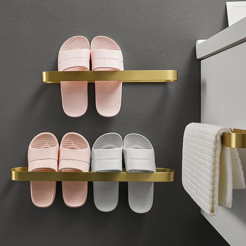 Wall-mounted Corner Shelf Punch-free Gold Athroom Slippers Rack Toilet Storage Drain Shelf Bathroom Shelf Organizer Metal Shelf