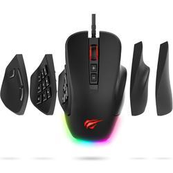Havit Gaming Mouse 10000 DPI Kabel Tikus dengan 14 Tombol Yang Dapat Diprogram Dipertukarkan Pelat Samping, 2 Diganti Kanan Piring