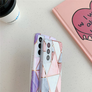 Image 4 - Telefoon Geval Voor Samsung Galaxy A51 A71 A31 A41 A50 A70 A20 A30 S21 S20 Fe S10 Note 20 Electroplated geometrische Marmer Back Cover