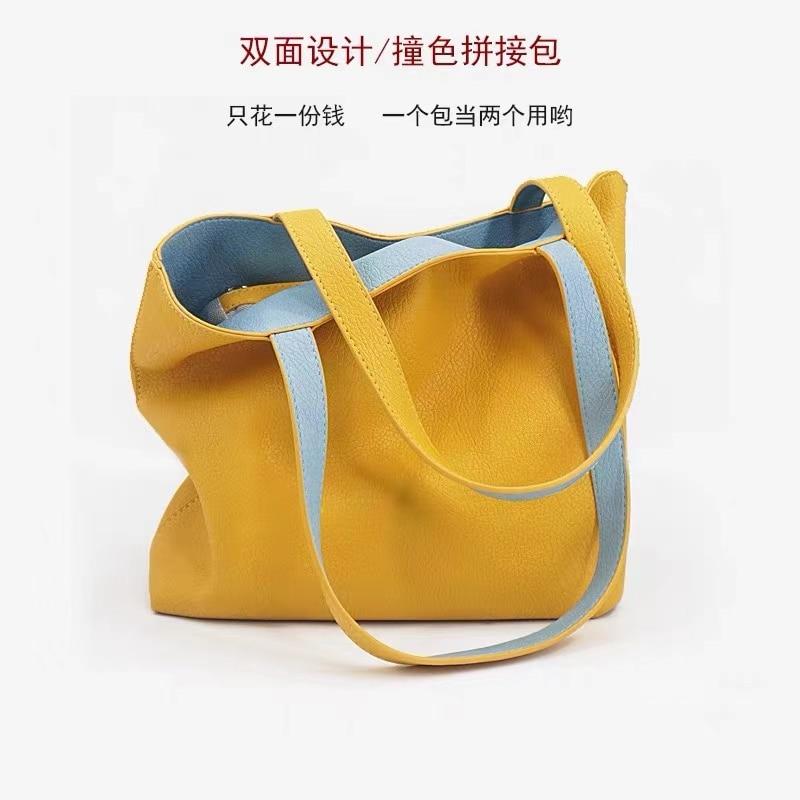 Роскошная модная дамская сумочка, новинка 2021, Высококачественная вместительная сумка через плечо, универсальная двусторонняя сумка-тоут, с...