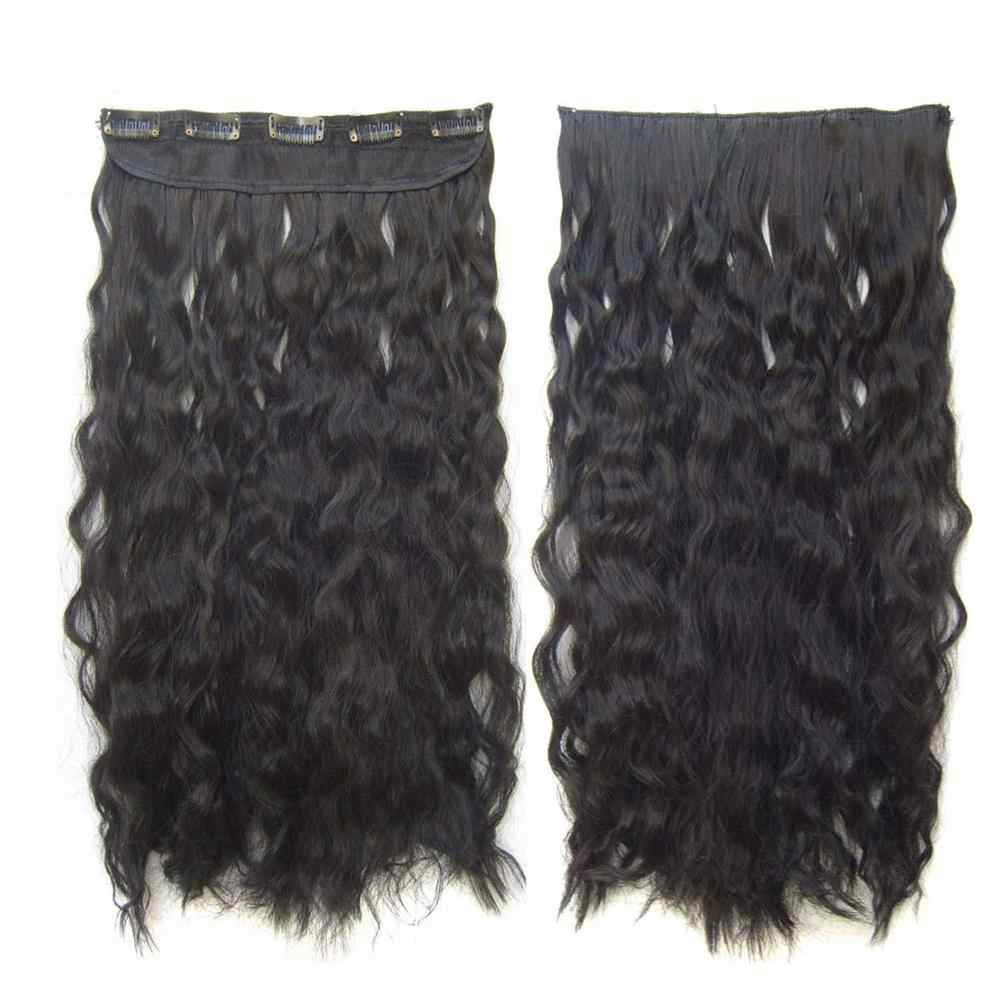 "22""55cm Clip In Hair extension Long Kinky Straight Synthetic Clip on Full Head False Hairpieces for Women 100g/pc"