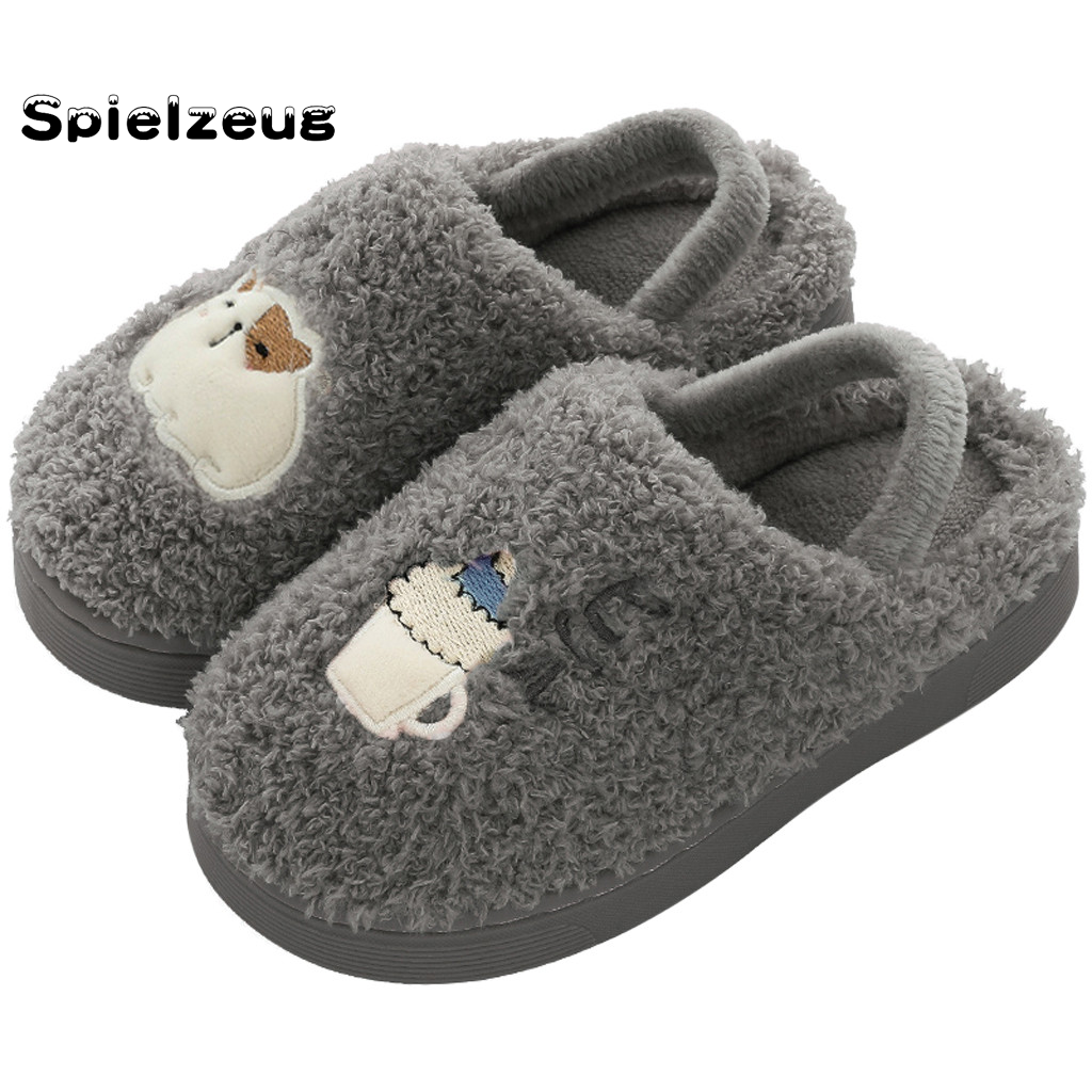 Toddler Baby Girls Boys Non Slip Slippers Kids Cartoon Soft Plush Warm House Shoes