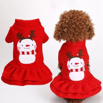 Dog Christmas Clothes Pet Dog Girl Snowman Printed Princess Dress Small Dog Winter Warm Dress For Chihuahua Yorkie Apparel image